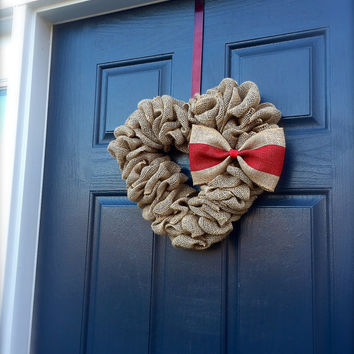 Heart Burlap Valentine Wreath Heart Decor Red Love Gift Cute Valentine Decoration