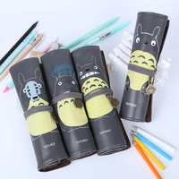 1pcs Novelty My Neighbor Totoro Rolling Vintage Bandage Creative Pen Bags School Office Supplies Multipurpose Pencil Case