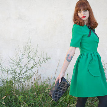 Green A line cute tea dress Audrey dress retro french lovely parisian vintage look mad men 60s mod custom made