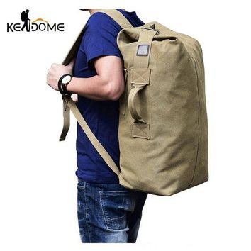 DCCK7N3 2017 Multi-purpose Military Canvas Backpack Solid Color Men Weekend Sports Travel Duffle Bags Outdoor Tactical Rucksack XA208WD