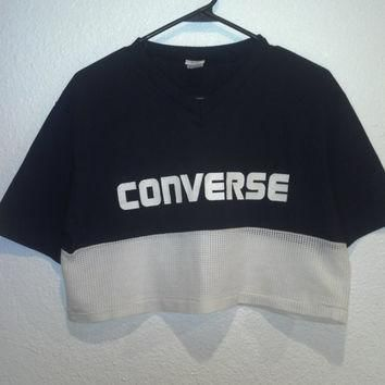vintage 80's converse crop top v neck t shirt with mesh bottom