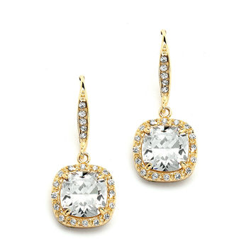 Cushion Cut Cubic Zirconia Wedding Earrings in 14K Gold
