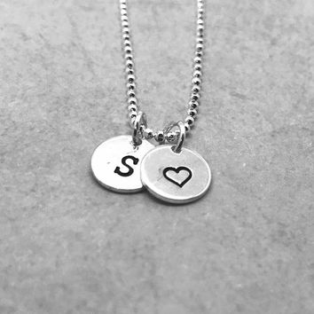 S Initial Necklace with Heart, Sterling Silver, Letter S Necklace, All Letter Available, Gifts for Her, Hand Stamped Jewelry, Heart Necklace