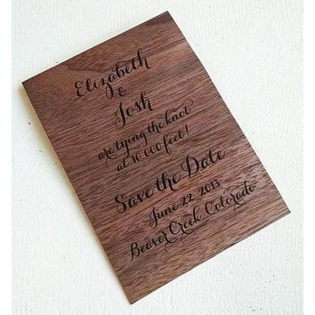 Walnut Wood Veneer Save the Date