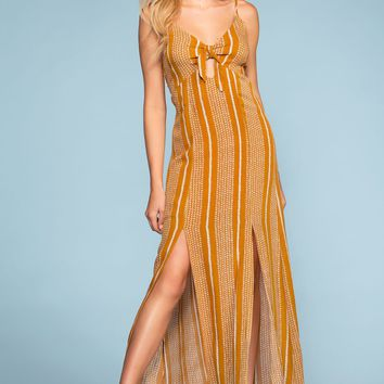 Sunshine Tie-Front Stripe Maxi Dress