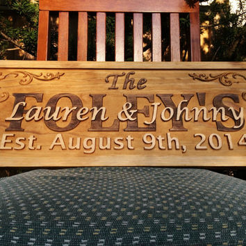 Personalized Family Name Sign Wedding Gift Custom Carved Wooden Signs Last Name Décor Established Wood Plaque 3D Engraved Couple Anniversary