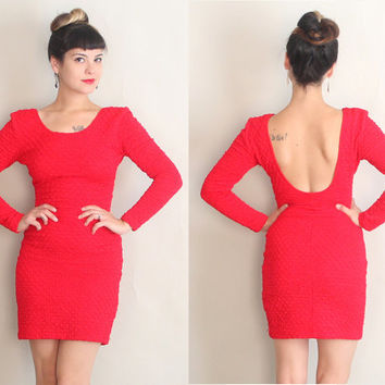 1980s Red Hot BODYCON Dress | Vintage 80s Textured LOW BACK Mini Dress | s/m