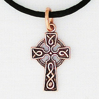 Celtic Copper Knot Work Cross Necklace with Solid Copper Pendant with Copper Chain