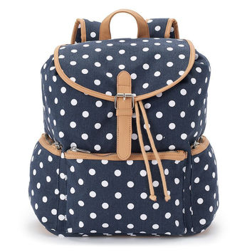 Mudd Polka Dot Denim Blue Back Pack