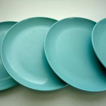 Vintage Aqua Melmac Plates by Stetson by KimBuilt on Etsy : stetson melmac dinnerware - pezcame.com