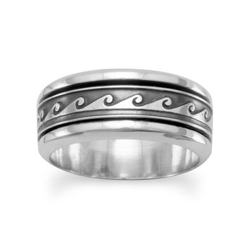 Sterling Silver Ocean Wave Design Spin Ring w/ Oxidized Finish