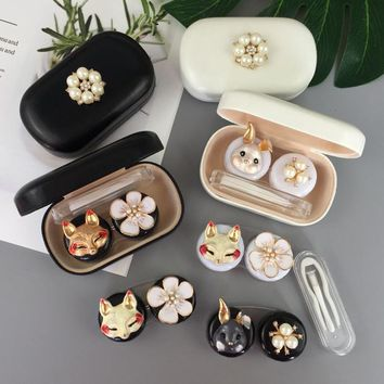Contact lens case Cute Animal Glasses Case Eyes Contact Lenses Box For Glasses Lens Container Glasses Lovely Travel kit box