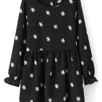 ROMWE Flare Cuffs Snowflakes Print Black Dress