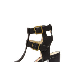 Show Business Black Caged Heels