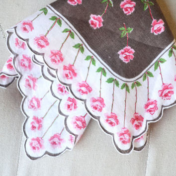 1950s Handkerchief Printed Cotton Brown with Pink Roses