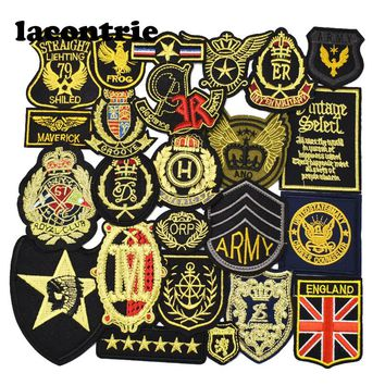 10pcs random stripes patches for clothing iron on patches military mixed embroidery patch applique badges stickers for clothes