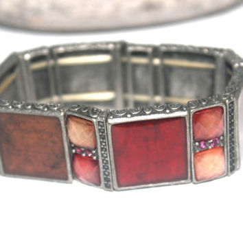 Vintage Retro Womens Jewelry, Red Coral Lucite Rhinestone, Stretch Bracelet, Antique Alchemy