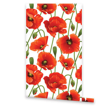 Self Adhesive Poppies WALLPAPER, Removable Vinyl Temporary Wallpaper, Wall Decal, Peel & Stick, Repositionable Floral Wallpaper