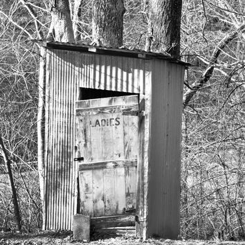 Old Outhouse Photograph - Black and White - Primitive Rustic Bathroom