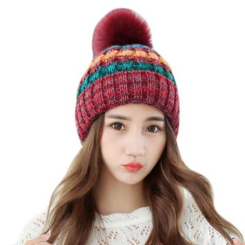 Winter Autumn Women Pom Pom Beanies Hat Knitted Fur Ball Cap For Women Girl 'S Wool Hat Cotton Warm Skullies Female Fashion Cap