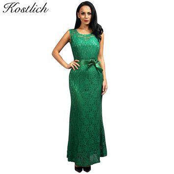 Kostlich Summer Women Long Dress 2017 UK Green Elegant Prom Fashion Casual Ladies Maxi Clothes Evening Party O-Neck Lace Dresses