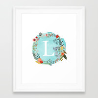 Personalized Monogram Initial Letter L Blue Watercolor Flower Wreath Artwork Framed Art Print by aba2life