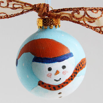 Glass Ball Ornament with Hand Painted Snowman, Christmas Tree Ornament, Holiday Decoration