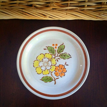 "Imperial Stoneware 7.5"" Plate, Countryside by W.M. Dalton, SUMMERTIME Design, Dessert or Salad Plate for 1970s Vintage Kitchen"