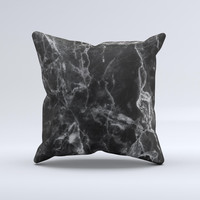 The Smooth Black Marble ink-Fuzed Decorative Throw Pillow