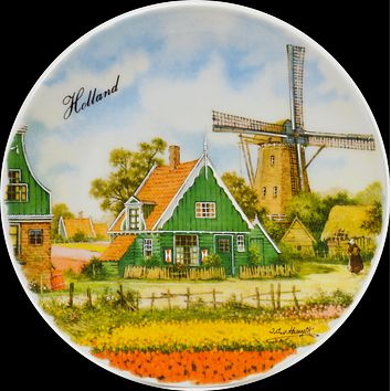 Souvenir Plate Field and Windmill Color