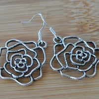 Flower silver filigree women earrings