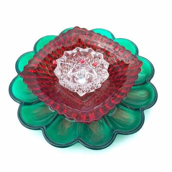 Mega Bloom Outdoor Christmas Decorations, Glass Plate Flower, Holiday Yard Decor, Red and Green Garden Decoration, Gift for Gardener