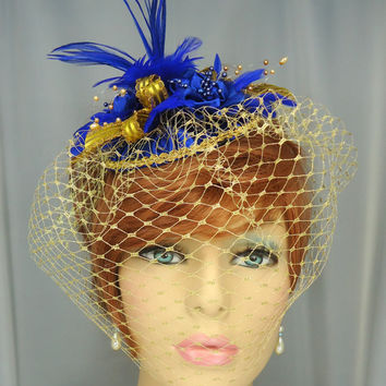 Royal Blue Gold Feather Fascinator Hat with Attached Veil