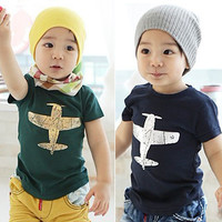 Free Shipping Children Summer Boys Girls 100% Cotton Print Airplain Fashion Short-sleeve T-shirt