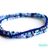 Seed Bead Stretch Bracelets, Set of Four, Blue and Purple Mix, Navy, Elastic Stretchy Jewelry, Gift for Her