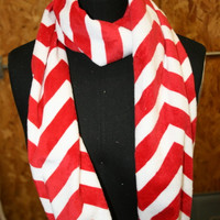 Candy Cane Chevron Infinity Minky Scarf - Fashion Scarf -Christmas Red White - Fabric - Multicolor - Extremely Soft - Cowl Scarf