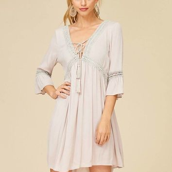 Taking You Uptown Cream Short Dress With Crisscross Top