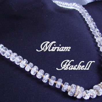 1960s Miriam Haskell Lucite & Rhinestone Necklace / Designer Signed / Wedding Bridal / Vintage Jewelry / Jewellery