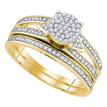 10kt Yellow Gold Womens Round Diamond Cluster Bridal Wedding Engagement Ring Band Set 1-3 Cttw