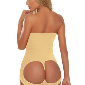 Beige Cut-Out High Waisted Underwear