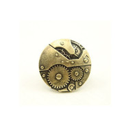 retro forefinger ring bronze great round gears ring elastic rope adjustbale ring love friendship gifts trending male female