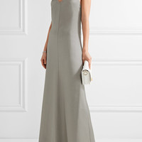 Barbara Casasola - Chain-trimmed wool and silk-blend halterneck gown