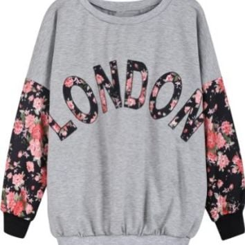 Sheinside Grey Contrast Florals LONDON Print Sweatshirt (One-Size, Grey)