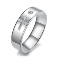 JewelryWe Fashion Stainless Steel Cross Couples Anniversary Rings Engagement Wedding Band (Men's Ring, 8)
