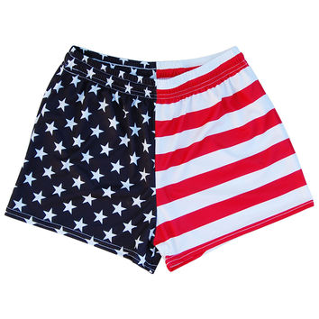 Womens American Flag Jacks Track Shorts