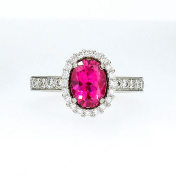 Size 5.5, Oval cut Rubellite tourmaline halo engagement ring, diamond, white gold, pink tourmaline ring, pink engagement, rubellite, unique