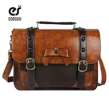 Ecosusi 2018 New Stylish Women PU Leather Bag Casual Women Messenger Bags Vintage Leather Handbag Girl's School Satchel Bag