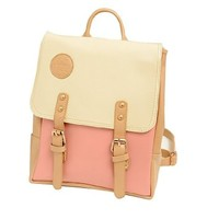 Biaaa New Design College Korea Fashion School bag Women Girl Faux Leather Backpack (Pink)