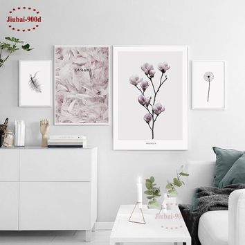900d Nordic Feather Canvas Art Print Painting Poster, Flower Wall Pictures For Home Decoration, Wall Decor NOR37
