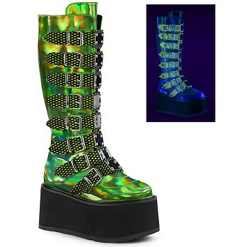 Green Holographic Buckled Knee High Platform Boots